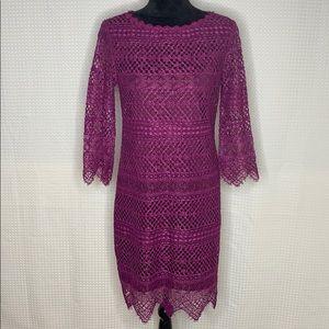 Trina Turk Plum Geddes Lace Sheath Dress Sz 6 NWT